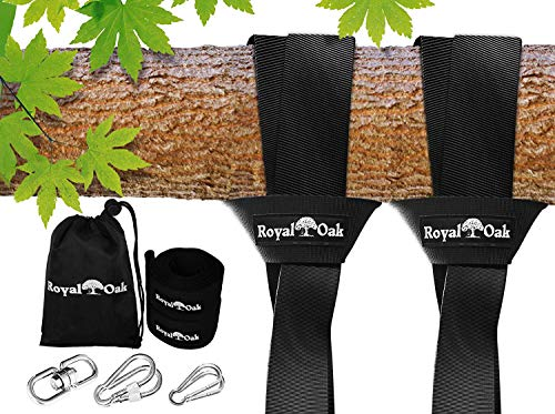 - Royal Oak Easy Hang (12FT) Tree Swing Strap X2 - Holds 4400lbs. - Heavy Duty Carabiner - Bonus Spinner - Perfect Tire Saucer Swings - 100% Waterproof - Easy Picture Instructions - Carry Bag Included!