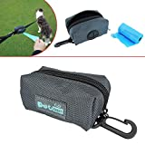 PET OPT Dog Poop Bag Holder Leash Attachment, Pick-up Bag Zippered Pouch, Includes Carabiner Hook and 1 Roll of Pick-up Bags (Dark Gray)