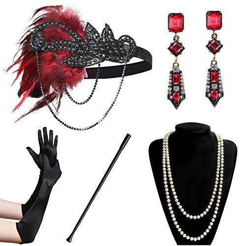 BABEYOND 1920s Flapper Accessories Gatsby Costume Accessories Set 20s Flapper Headband Pearl Necklace Gloves Cigarette Holder (Set-122) -