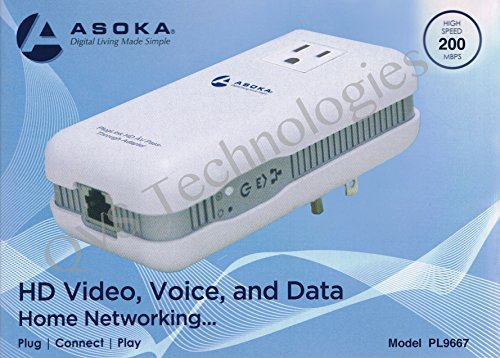 Asoka PlugLink ETH-200 Mbps HomePlug Powerline Ethernet Adapter - 9667 with Home Plug Passthrough by Asoka (Image #2)