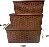 BASKET WITH LID (SET OF 3) (SMALL, MEDIUM & BIG) - BROWN