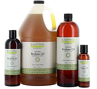 Banyan Botanicals Brahmi Oil with Sesame Base - USDA Certified Organic - Ayurvedic Skin & Hair Oil with Gotu Kola & Bacopa - Calms the Mind