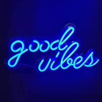 Neon Light Sign LED Good Vibes Night Lights USB Operated Decorative Marquee Sign Bar Pub Store Club Garage Home Party…