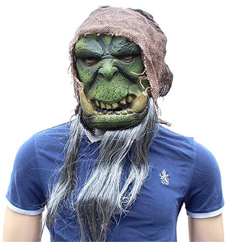 KTYX New Halloween Warcraft Mask Green Latex Material Horror Funny Headgear Props -