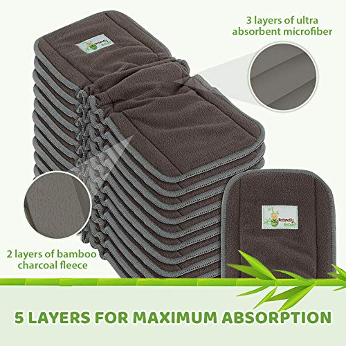 Grey Insert Naturally Natures Cloth Diaper Inserts 5 Layer Charcoal Bamboo Reusable Liners for Cloth Diapers Pack of 12