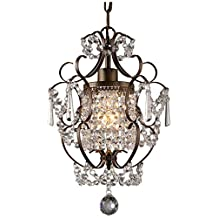 "Whse of Tiffany RL4025BR Rosalie 1-Light Antique Bronze 11"" Crystal Chandelier"