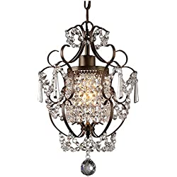 Whse of Tiffany RL4025BR Rosalie 1-Light Antique Bronze 11 inch Crystal Chandelier