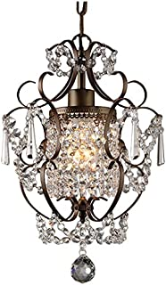 Crystal mini chandelier pendant light in bronze finish ceiling whse of tiffany rl4025br rosalie 1 light antique bronze 11 crystal chandelier aloadofball Image collections