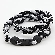 Urparcel 3 Rope 20` Titanium Ionic Sports Necklace Baseball Softball Soccer Braided Twist(Black/Black/White)