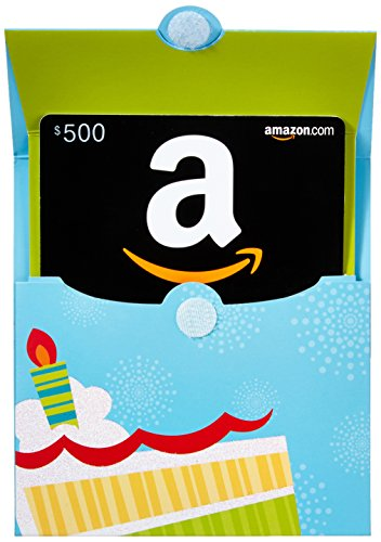 - Amazon.com $500 Gift Card in a Birthday Reveal (Classic Black Card Design)