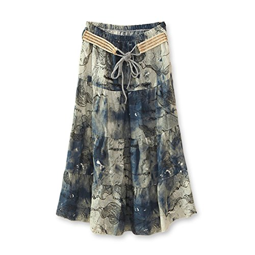 J.Cotton Women's Bohemian Style Color-printed Flax Belted Skirt Size M Multi-Color 5