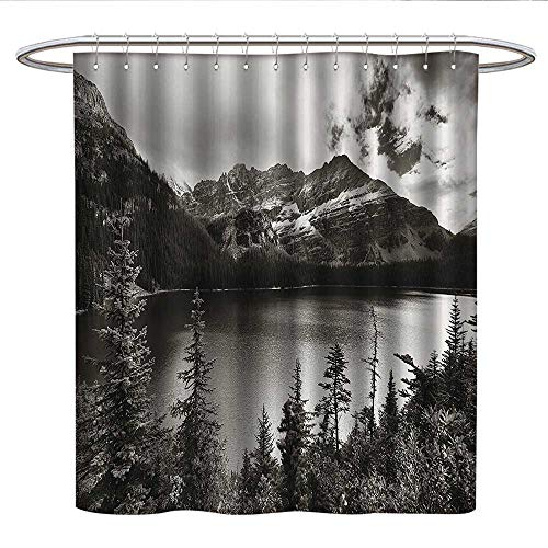 Anshesix National Parks Home DecorPattern Shower curtainAlpine Area Province Waterfront Recreation Relax DesignFabric Shower curtainSepia]()