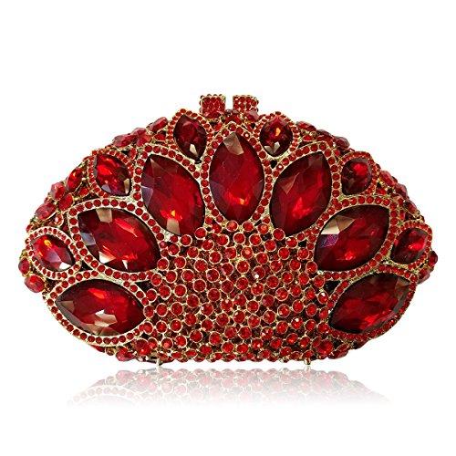 mariage Champagne précieuses main soirée strass pierres Flada Rouge secteur femme sac forme à embrayage gBnzBaq7