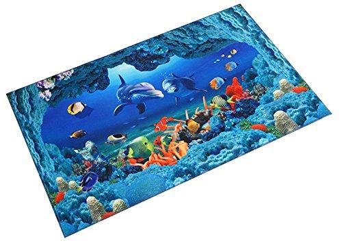 Homespun 3D Floor Decal Cartoon Ground Fish Blue 40 x 60 Cm Microfiber Soft Comfortable Gift