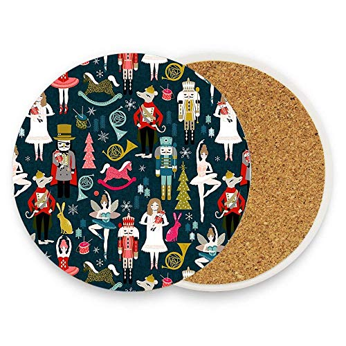 Uwwrticm Nutcracker Ballet By Andrea Lauren Ceramic Coasters - 1 Piece of Absorbent Stone For Drinks, Protect Furniture From Coffee Or Tea ()