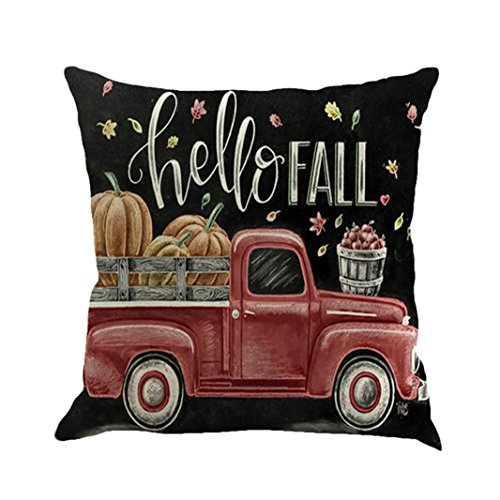 Pillow Case,AutumnFall 45cmX45cm Square Car Pattern Christmas Cotton Linen Sofa Car Home Waist Cushion Cover Throw Pillow Case