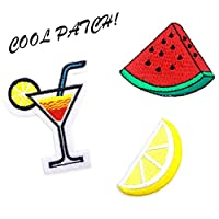 Onnea 3pc Cool Iron On Patch Set, Mid Size (Cocktail, Watermelon, Lemon Set)