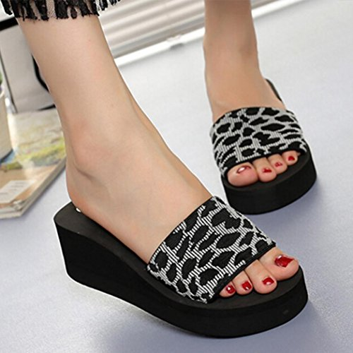 Platform Flops Summer Slope Beach Shoes Leopard Women Con Sexy Hlhn Grey Zeppa Slipper Sandali Zw07pzxqv