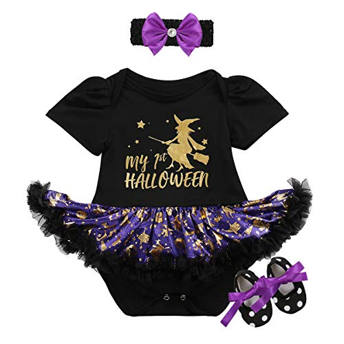 My 1st Halloween Baby Girls Romper Dress + Headband + Shoes Tutu Outfits Pumpkin Trick Treat Fancy Dress up Carnival Party Costume 3Pcs Set Infant Toddler Photo Clothes Black + Witch 12-18 Months -