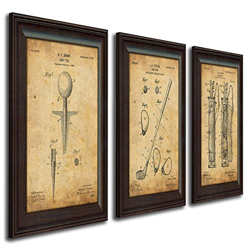 Framed Golf Patent Art Prints - 14 in X 17 in Finished Size (3 Set (Tee Club Bag)) (Best Vintage Golf Clubs)