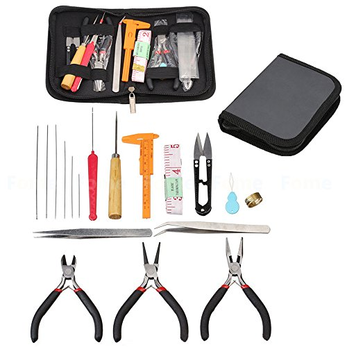 Jewelry Making Tools Kit,FOME 19PCS DIY Craft Jewelry Tool Kit Set with Zipper Storage Case for Jewelry Crafting and Jewelry Repair and Beading