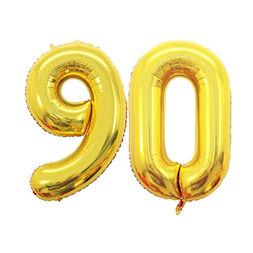 GOER 42 Inch Gold Number 90 Balloon,Jumbo Foil Helium Balloons for 90th Birthday Party Decorations and 90th Anniversary Event]()
