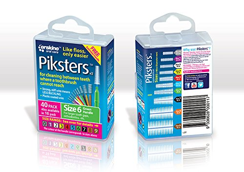PIKSTERS - for cleaning between teeth-Size 6 (Green)- 40Pk by PIKSTERS PIK406