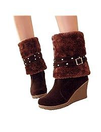 Susanny Wedges Short Boots Women's Buckle High Heel Warm Fur Fold-over Winter Knee High Snow Boots