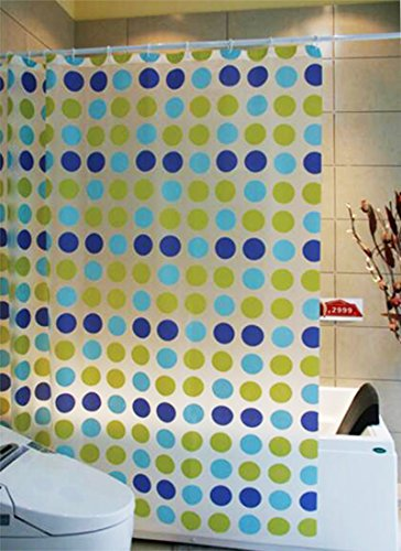 Polka Dot Design PVC 72-Inch by 72-Inch Shower Curtain, Blue/Green,Mildew Resistant,Waterproof (Blue Polka Dot Shower Curtain)