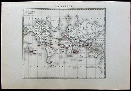 France World French colonies Colonialism c1895 Migeon old antique map