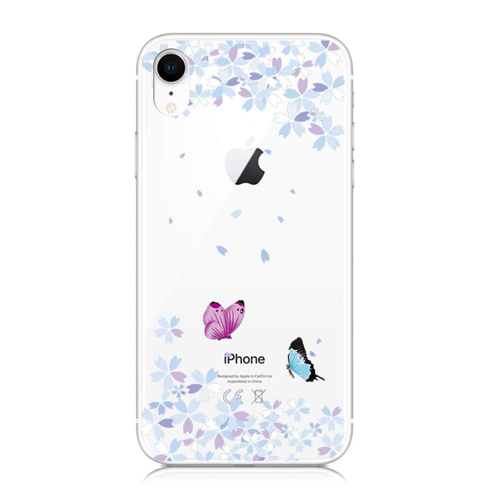 Fleur 3X Coque iPhone XR Silicone Ultra Mince Transparente TPU Gel Souple Housse /Étui Doux Slim L/éger Antichoc Anti Rayure Protection Papillon Plume