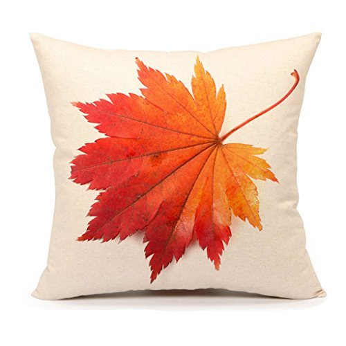 4TH Emotion Autumn Maple Leaf Fall Thanksgiving Home Decor Design Throw Pillow Cover Pillow Case 18 x 18 Inch Cotton Linen for Sofa (7)