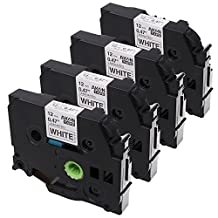 Aken 4 Pack Compatible Brother P Touch TZ TZe Tape TZ231 TZe231 for PT-H100 PT-D210 PT-D200 PT-H110 PT-D210 Label Maker, Black on White, 1/2 Inch (12mm) x 8m (26.2ft)