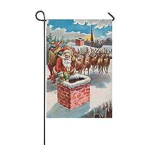 Custom home al aire libre jardín bandera de Navidad Papá Noel renos casa Banner de bandera de Jardín en la azotea 12x 18inch