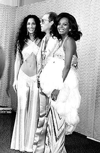 "Celebrity Vault Cher, Elton John, and Diana Ross, an Archival Print - 20"" x 16"""