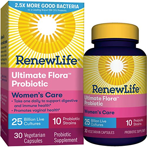 Renew Life Women's Probiotic - Ultimate Flora Women's Care  Probiotic Supplement - Gluten, Dairy & Soy Free - 25 Billion CFU - 30 Vegetarian Capsules