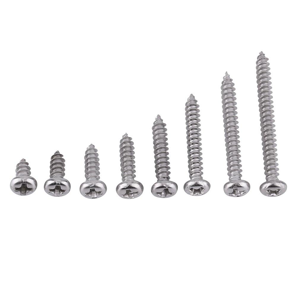 Paquete de 200 piezas SS grado 304 de acero inoxidable M3 tornillos autorroscantes Kits de bloqueo tuerca de madera hilo Juegos de tornillos de clavo(Set B) Hilitand