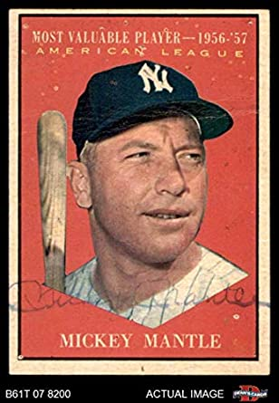 Amazoncom 1961 Topps 475 Most Valuable Player Mickey Mantle New