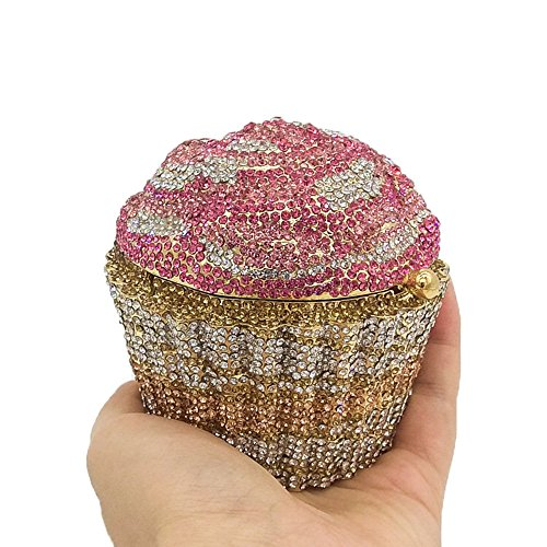 Cupcake Crystal Clutch Evening Bags Wedding Party Bridal Diamond Minaudiere Handbag Clutches Purse (2)