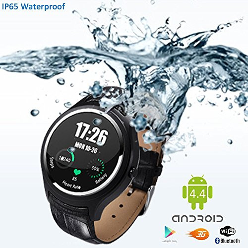 Indigi Stylish Wrist Watch 3G SmartPhone Android 4.4 WiFi Heart-Rate Monitor Google Play Store Weather Forecast GSM Unlocked! by inDigi