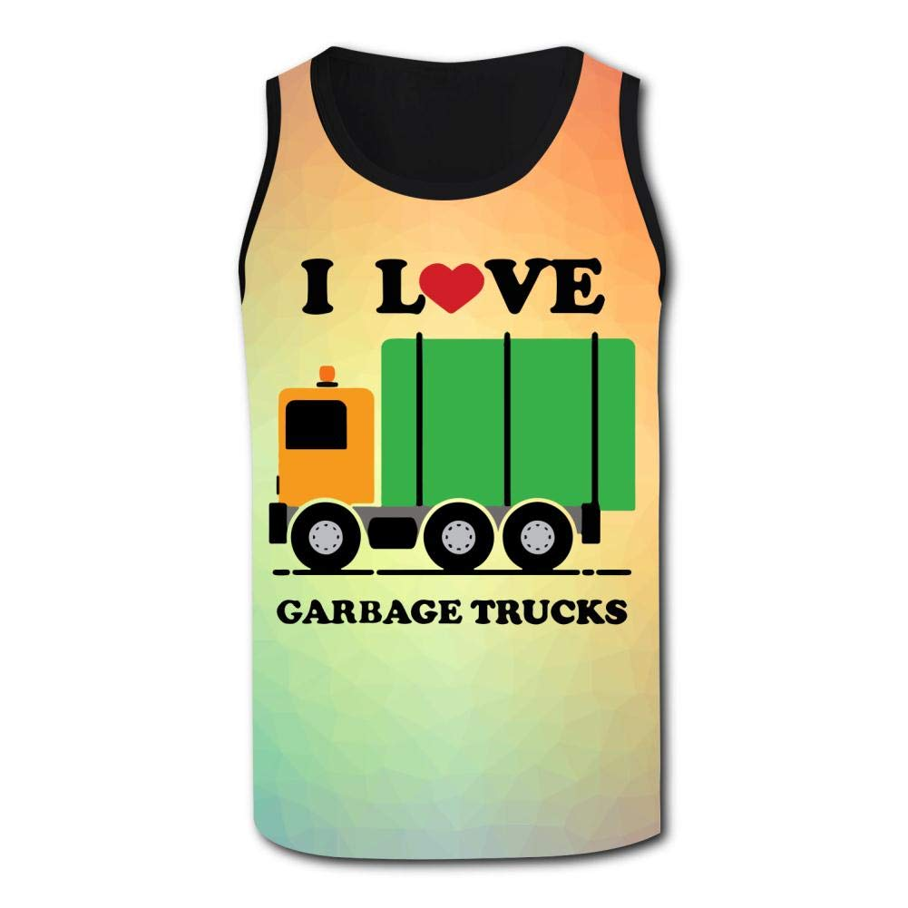 Mens Outdoor Sport I Love Trash Garbage Tank Top Vest T-Shirt Fast Drying Tee
