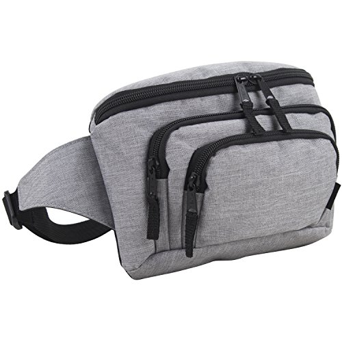 Fuel Signature Triple Pocket High Capacity Belt Bag, Fanny Pack (Expandability Min. 34 In - Max. 48 In) (Gray Chambray)
