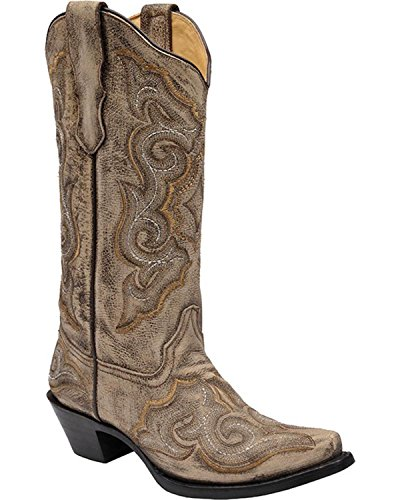 Corral Womens Luce Afflitta Cowgirl Boot Snip Toe - E1004 Marrone
