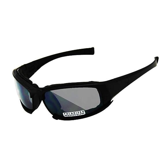 00325c6f07 EnzoDate Daisy X7 polarizado ejército Gafas de Sol, Gafas Militares 4 Lente  Kit, Hombres Juego de Guerra táctica Gafas al Aire Libre (Negro, ...