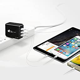 EC Technology 4A 3 port 20W USB Wall Charger with Auto IC (Foldable Plug) Adapter for iPhone SE/6s/6/6 Plus, iPad Air 2/Pro/mini 3, Galaxy S7/S7 Edge/S6/S6 Edge/Edge+, Note 5, LG G5 and More - Black