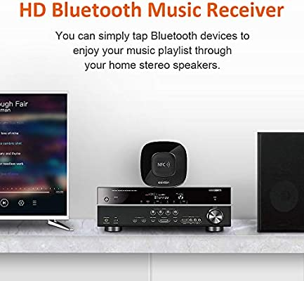 for Stereo Sound System with Long Range and Superior Acoustics Esinkin Bluetooth Receiver NFC Enabled Bluetooth Audio Adapter