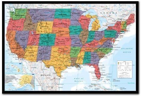 EE. UU. ESTADOS UNIDOS mapa gráfico Mural Poster corcho Pin pizarra negro enmarcado – 96,5 x 66 cms (aprox 38 x 26 pulgadas): Amazon.es: Oficina y papelería