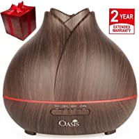 OASIS 400ml Aromatherapy Ultrasonic Aroma Essential Oil Diffuser for Office Home Room Spa Yoga Baby Wood Grain Cool Mist Humidifier Fish Fragrance Hemp Health Stress anti Household Light Purifier