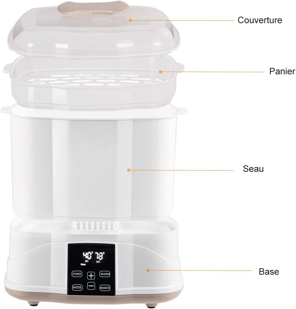 COSTWAY Chauffe-biberon Electrique3-en-1 Sterilisateur Electrique 500W sans BPA Multifonction Portable avec /Écran LED Num/érique et R/échauffeur de Thermostat Capacit/é Max /à10 Biberons