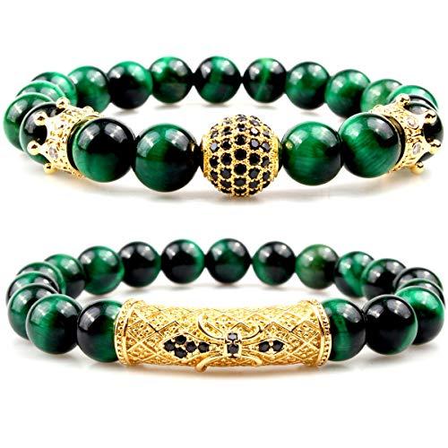 GVUSMIL 8mm Green Tiger Eye Natural Stone Beads Bracelet Set Charm Healing Energy Jewelry for Men - Green Beaded Beads Charms